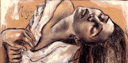 extrait dessin danseuse visage sur papier kraft