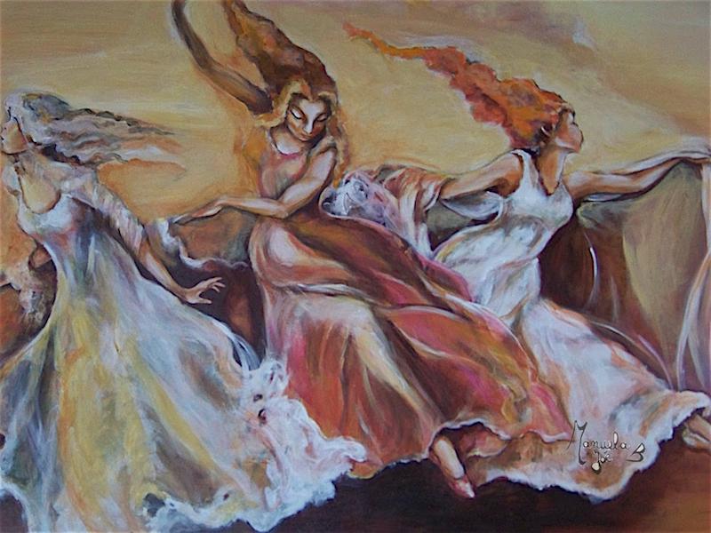 peinture de 3 muses courant cheveux aux vents
